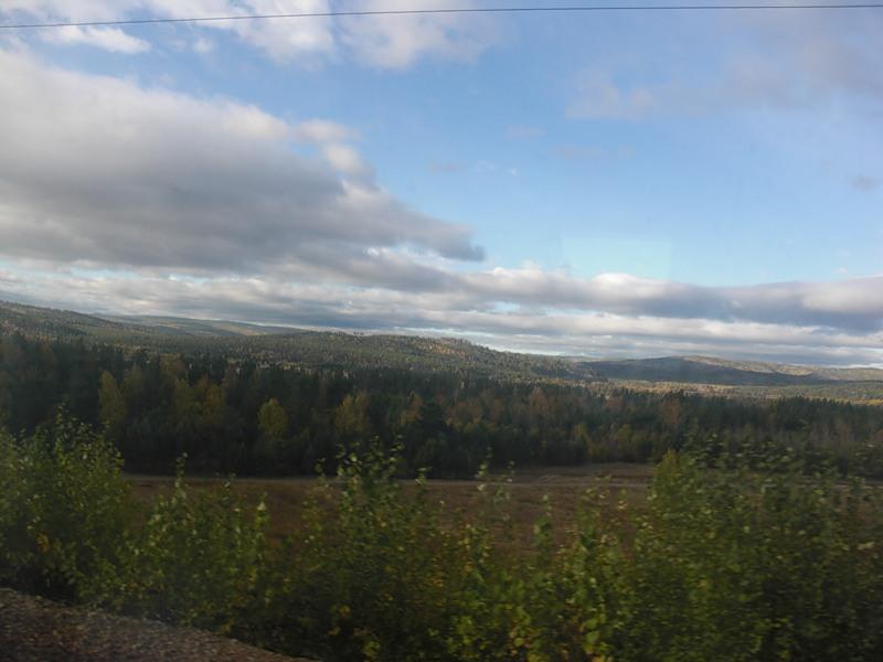 Вид из купе поезда, на котором я пересек Дальний Восток и Сибирь (часть ее) по Транссибу.