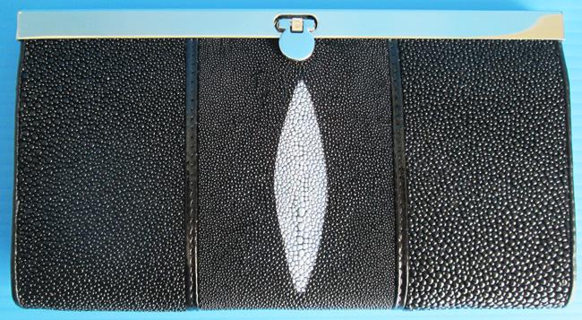 стильный женский кошелек из кожи ската черного цвета, бестселлер в магазине Тайского Портала на eBay