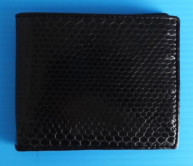 черный мужской кошелек из кожи морской змеи, недорогая ходовая модель