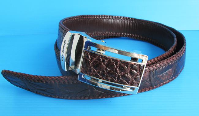 Мужской ремень из кожи крокодила, темно-коричневый