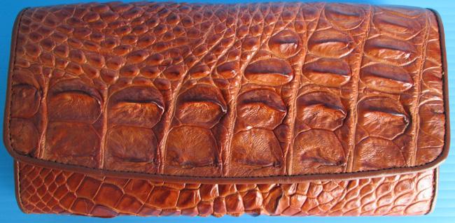 рыжий женский кошелек из кожи крокодила, ID: 034