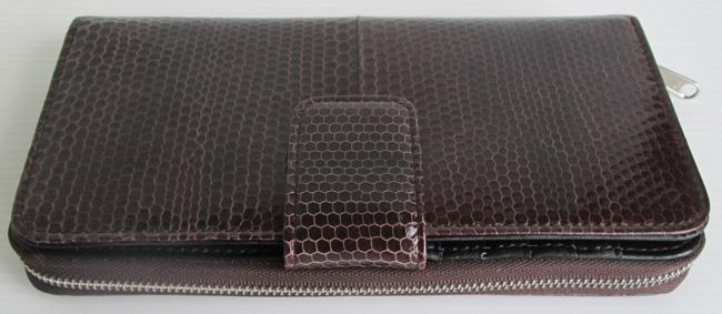 темно-коричневый женский кошелек-клатч из кожи змеи