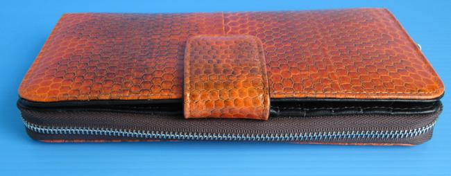 оранжевый женский кошелек-клатч из кожи водной змеи