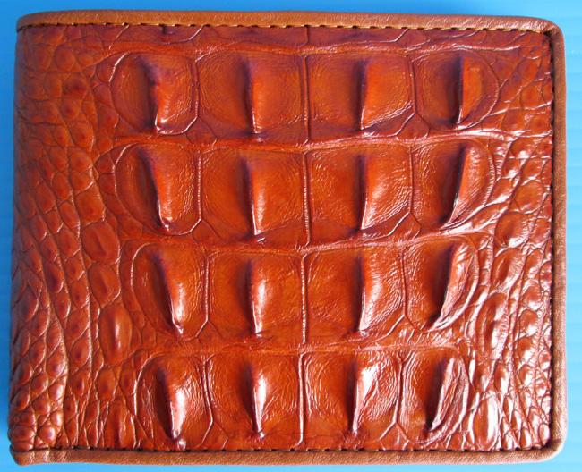 рыжий мужской кошелек из кожи крокодила