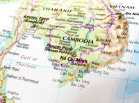 схематическое изображение Камбоджи в регионе на карте Юго-Восточной Азии