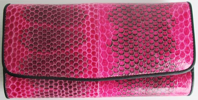 Женский кошелек из кожи змеи, темно-розовый