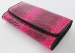 темно-розовый женский кошелек из кожи водной змеи