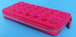 розовый женский кошелек-клатч из кожи крокодила