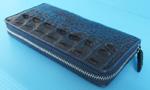 темно-синий женский кошелек-клатч из кожи крокодила