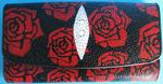 Женский кошелек из кожи морского ската, разноцветный, с изображением цветков роз