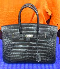 Женская сумка из кожи крокодила (точная копия Hermès Birkin), черная