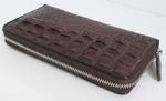 темно-коричневый женский кошелек-клатч из кожи крокодила