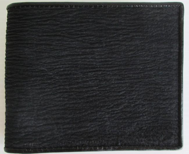 мужской кошелек из кожи акулы черного цвета