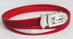 красный женский ремень из кожи ската со стальной пряжкой