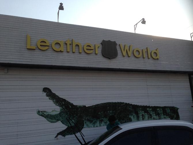 Магазин Leather World (Мир Кожи) в Южной Паттайе. Там продают изделия из экзотических кож: крокодила, ската, змеи, питона, страуса, игуаны. Хозяева - русские из Сибири