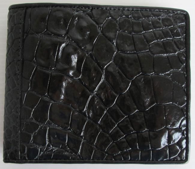 черный мужской кошелек из кожи крокодила
