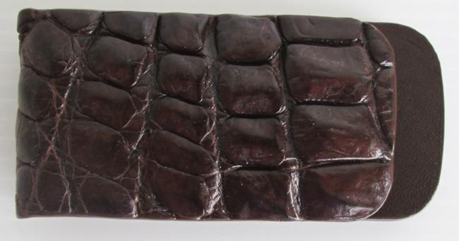 Зажим для денег на магните из кожи крокодила, темно-коричневого цвета