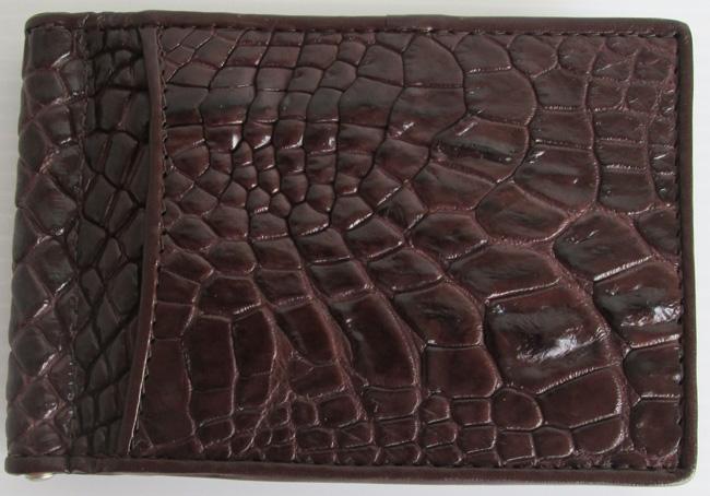 темно-коричневый зажим для денег из кожи крокодила, модель 129