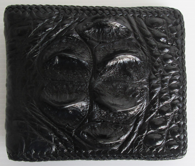 чёрный мужской кошелек из кожи сиамского крокодила номер 139