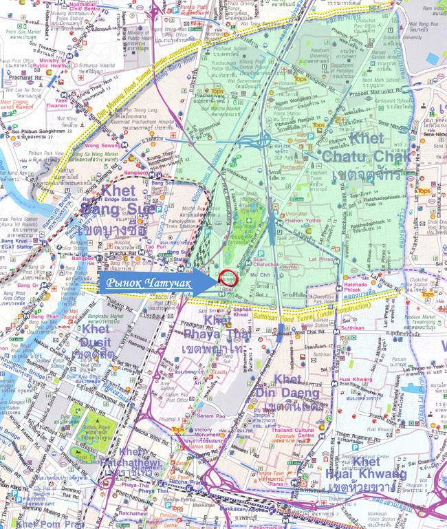 фрагмент большой карты Бангкока, куда вошел рынок Чатучак, район Чатучак и прилегающие административные районы