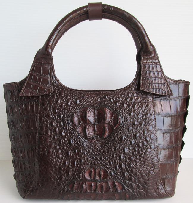 Женская сумка из кожи сиамского крокодила, коричневая