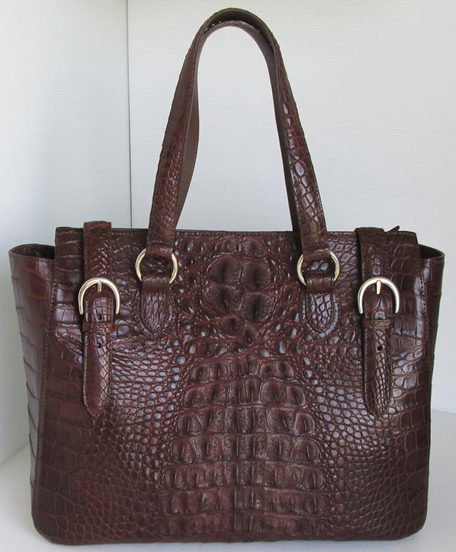женская сумка из кожи крокодила River, темно-коричневого цвета