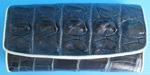 темно-синий женский кошелек из кожи крокодила с белой окантовкой