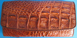 рыжий женский кошелек из кожи крокодила