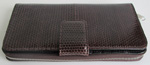 темно-коричневый женский кошелек-клатч из кожи водной змеи
