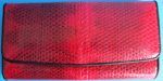 темно-красный женский кошелек из кожи змеи