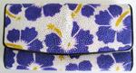 картинка-иконка - женский кошелек из кожи ската с узором из синих цветочков на белом фоне