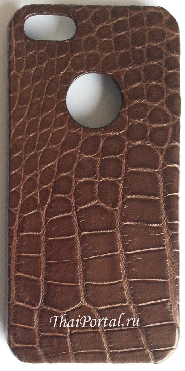 темно-коричневый чехол накладка для iPhone из кожи крокодила