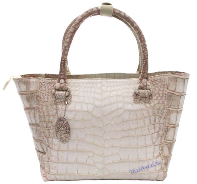 женская сумка из кожи сиамского крокодила белого цвета