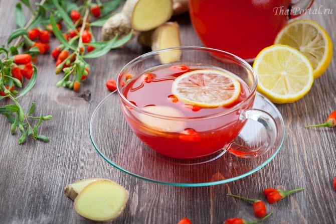 чай со свежими ягодами годжи и имбирем