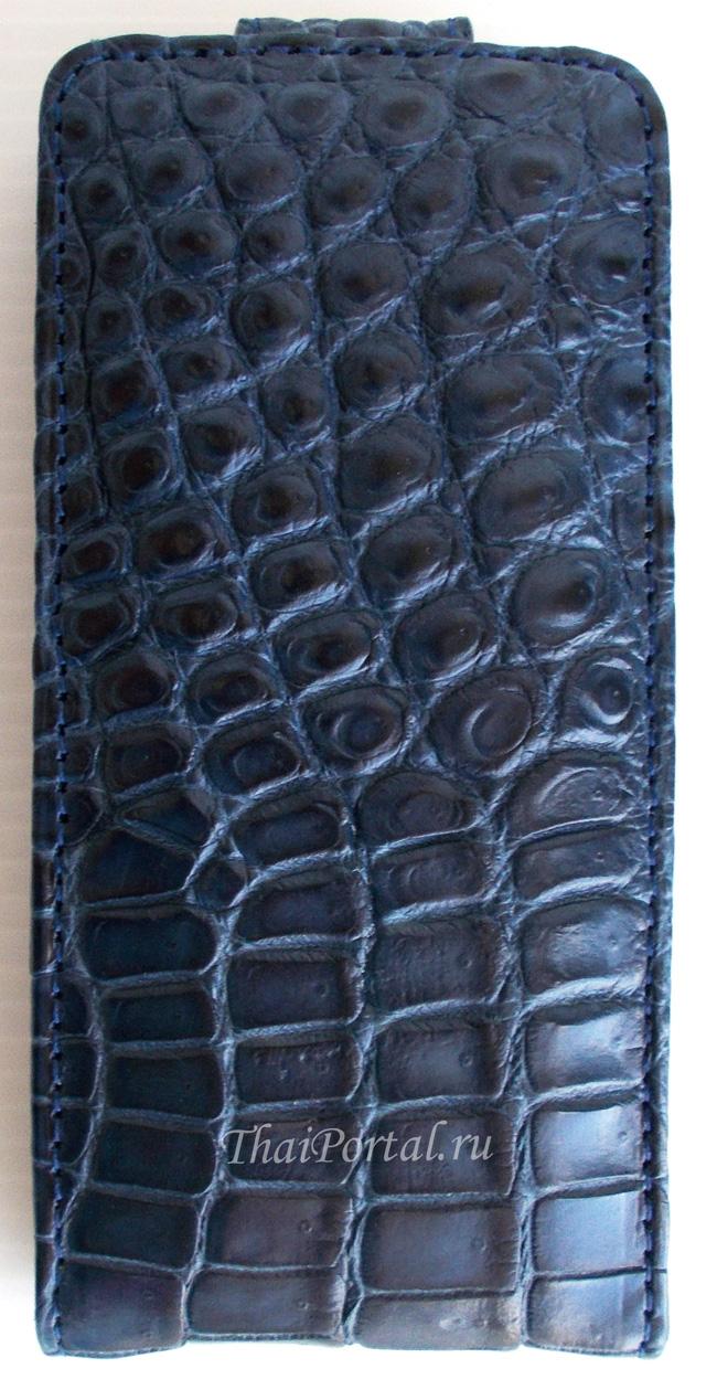 темно-синий чехол для iPhone 5/5S из кожи крокодила
