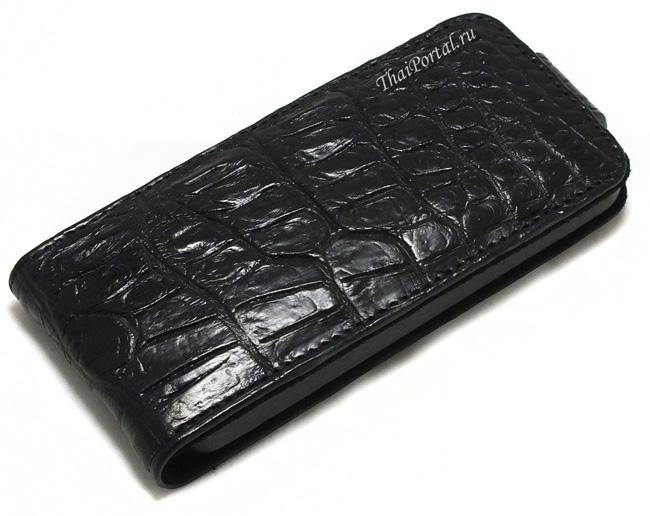 черный чехол из кожи крокодила для айфона 5 и 5S