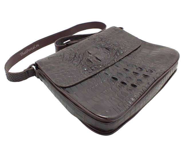 стильная мужская сумка из кожи крокодила темно-коричневого цвета, номер модели в каталоге - 228