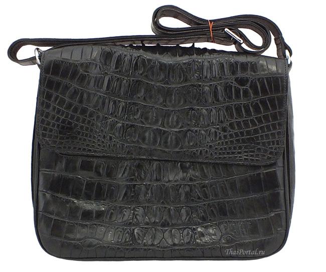 мужская черная сумка для носки на плече из кожи крокодила, ID: 229