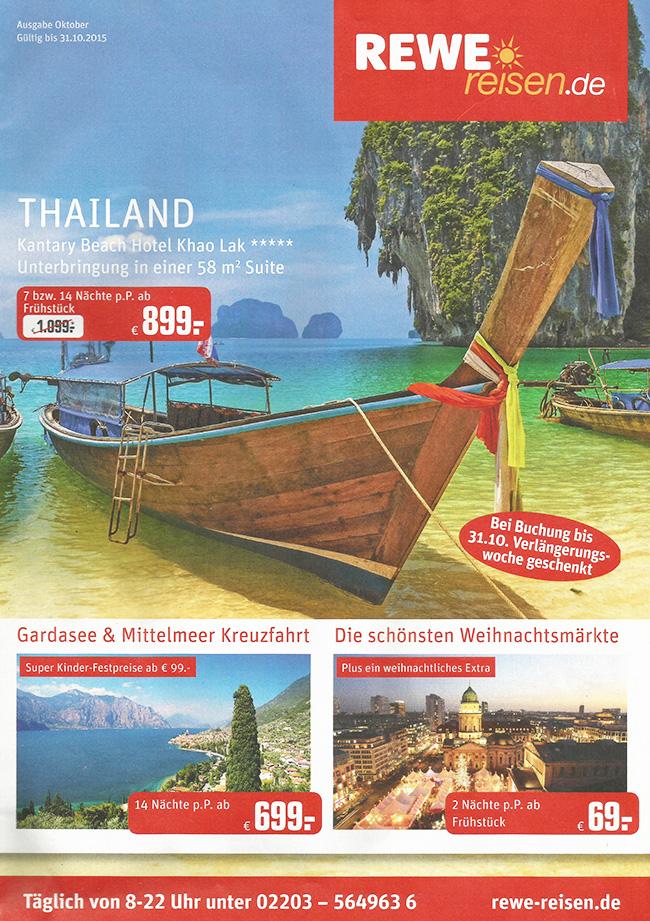 обложка рекламного журнала-брошюры туристической компании REWE reisen с рекламой туров на Као Лак в Таиланде