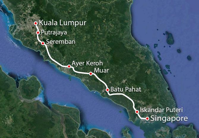 Маршрут будущей высокоскоростной железнодорожной магистрали из Сингапура в Куала-Лумпур на карте. Всего восемь остановок.