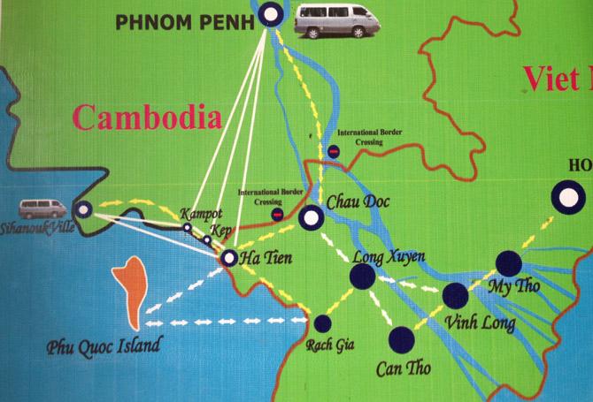 схема автобусных маршрутов из Сиануквиля в Камбодже во Вьетнам