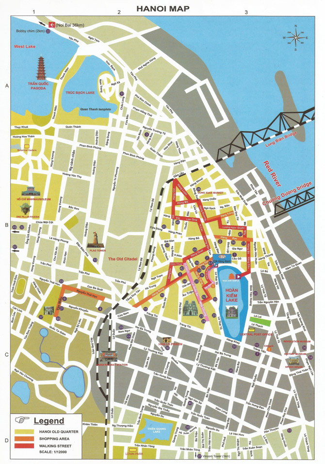 карта центра Ханоя со старым городом