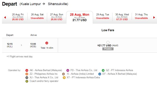 билеты AirAsia по маршруту Сиануквиль — Куала-Лумпур сейчас можно заказать дешевле 22 долларов США