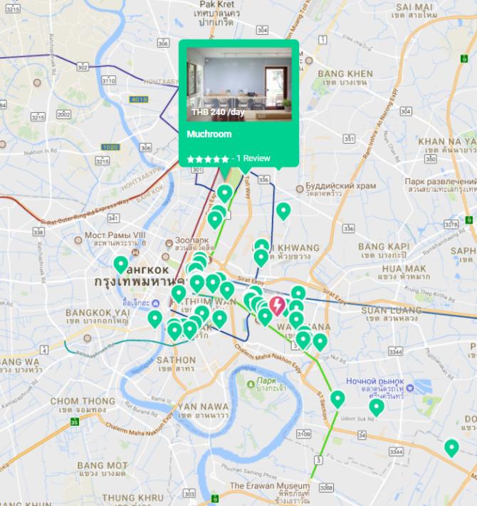 коворкинги Бангкока на карте: фрилансеры останутся довольны в столице Таиланда