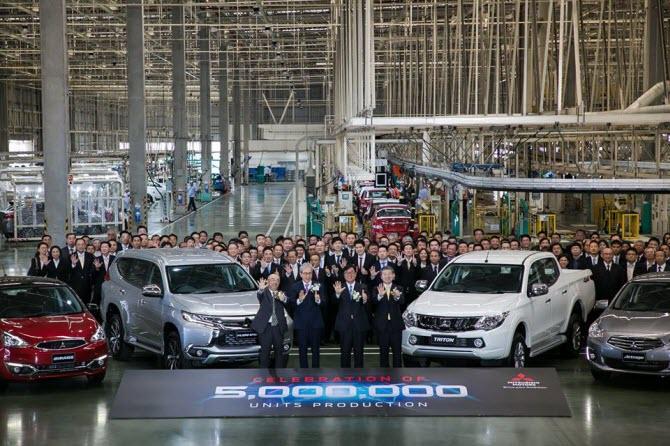на заводе Mitsubishi Motors (Thailand) в Лаем-Чабанге, провинции Чонбури отмечали 4 июня 2018 производство 5 миллионов автомобилей в Таиланде