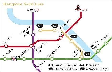 схема монорельса Gold Line в Бангкоке, Таиланд