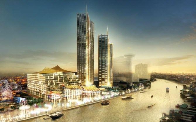 Новый культовый торговый центр Iconsiam - как он должен выглядеть вечером на берегу реки Чао Прайя по задумке архитекторов