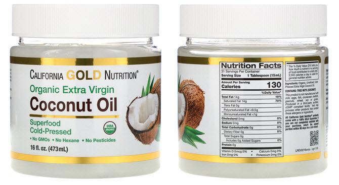 баночка кокосового масла холодного отжима на 16 жидких унций (473 мл) от американского производителя California Gold Nutrition