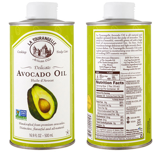 масло авокадо, произведенное в США под французским брендом La Tourangelle